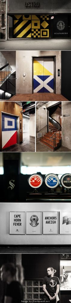 Inhouse. Seafarers/Ostro Nautical flags painted on walls and doors as artwork