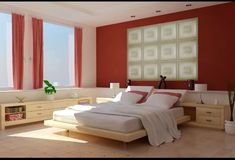 Inspiring Bedroom Colors for 2013 Design Ideas: Stunning Floating Bed Modern Style Bedroom Colours For 2013 Red White Interior Color Finishe. Guest Bedroom Colors, Bedroom Colour Palette, Bedroom Red, Bedroom Color Schemes, Bedroom Paint Colors, Bedroom Ideas, Red Bedrooms, Wall Colors, Bedroom Decor