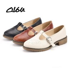 c8cb5c791 O16U Women Mary Jane shoes Brogue cut out Leather Buckle Strap Ladies point  toe oxfords ballet Flats white black brown summer-in Women s Flats from  Shoes on ...