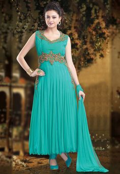 Teal Blue Net Readymade Anarkali Churidar Kameez Online Shopping: KMK389