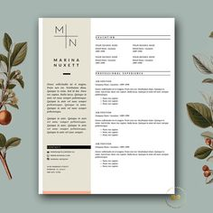 3-page CV Design | Hipster Resume Template for MS Word & iWork Pages | Instant Digital Download ★ BotanicaPaperieShop