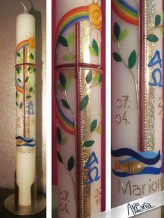 """Kommunionkerzen - Künster-Kommunionkerze """"Lebensbaum mit Reg... - ein Designerstück von arte-maria bei DaWanda"""