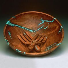 Mesquite Wood Salad Bowl with Turquoise Inlay