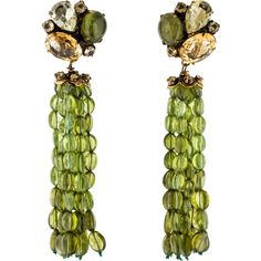 Pre-owned Iradj Moini Gemstone Tassel Clip-On Earrings ($625) ❤ liked on Polyvore featuring jewelry, earrings, iradj moini, preowned jewelry, tassel earrings, gem earrings and cabochon earrings