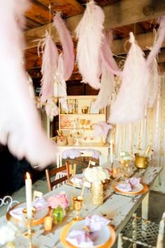 Love The Idea Of Hanging Feathers To Create A Surreal Mood At Dreamy Soirée