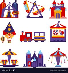 Set of vector colourful flat design amusement park and merry-go-round icons Craft Work For Kids, Crafts For Kids, County Fair Theme, Carnival Themed Party, Flat Design Icons, Id Design, Coloring Pages For Kids, Kids Coloring, Children's Book Illustration