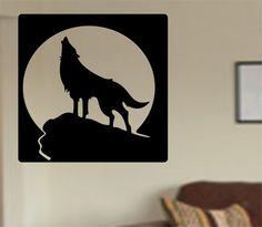 Howling Wolf full moon Vinyl Wall Decal Sticker Art Decor Bedroom Design Mural animals