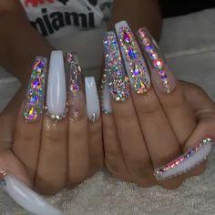 Most Sexy and Trendy Prom and Wedding Acrylic Nails and Matte Nails for this Season - Amately Bling Acrylic Nails, Aycrlic Nails, Best Acrylic Nails, Glam Nails, Classy Nails, Bling Nails, Cardi B Nails, Pastel Nails, Exotic Nails