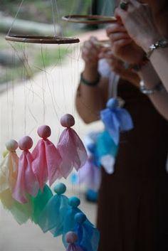 Rhythm & Rhyme: Wednesday Craft Group ~ Silk Angel Mobiles ~ a tutorial Christmas Crafts, Christmas Ornaments, Christmas Stuff, Christmas Ideas, Waldorf Playroom, Waldorf Crafts, Faeries, Diy Tutorial, Wind Chimes