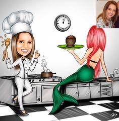 Caricaturas digitais, desenhos animados, ilustração, caricatura realista: Desenho da Chef Giselle do Giselle Restaurante e B...