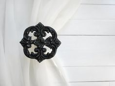 Two Metal Curtain Tie Backs / Curtain Tiebacks / Curtain Holdback / Drapery Tie Back / Shabby Chic Window / Black Home Decor / Curtain Hook on Etsy, $25.00