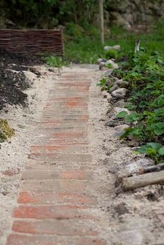 "Just the other day, the li'l neighbor girl said, ""What are you going to do with all of those *bricks?"" *The bricks rescued from the bungalow's scary original chimney. Brick Path, Brick Garden, Garden Path, Brick Walkway, Patio, Backyard, Brick Crafts, Path Ideas, Farmhouse Garden"