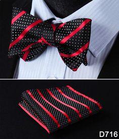 Floral 100%Silk Men Butterfly Striped Bow Ties Men SELF Tie Pocket Square Set #D