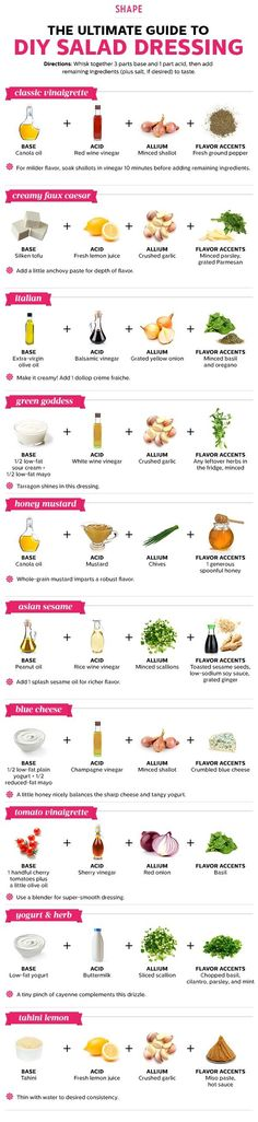 The Ultimate Guide to DIY Salad Dressing .. Vinaigrette Caesar Italian Green Goddess Honey Mustard Asian Sesame Blue Cheese Yogurt Herb Lemon Tahini .. 10 Homemade Salad Dressings Way Tastier Than Store-Bought Drizzles - SHAPE Magazine - http://www.shape.com/healthy-eating/healthy-recipes/10-homemade-salad-dressings-way-tastier-store-bought-drizzles @Neferast