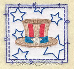 Uncle Sam Hat Stars USA Applique Machine Embroidery Pattern