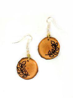Loral Leaf Dangle Earrings Wooden Earrings Wood Slice by LadyDryad