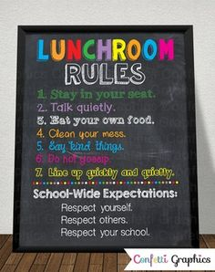 The perfect addition to any cafeteria, lunch room or classroom. Instant download 16x20 chalkboard sign.LUNCHROOMRULES1. Stay in your seat.2. Talk quietly.3. Eat your own food.4. Clean your mess.5. Say kind things.6. Do Not Gossip.7. Line up quickly and quietly.School-Wide Expectations1.