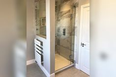 A hinged glass door and bespoke side panel combined with stud walling to preserve the character of the room Glass Shower Panels, Glass Panels, Glass Suppliers, Laminated Glass, Custom Glass, Family Bathroom, Bathroom Design Small, Shower Enclosure, Glass Shelves