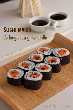 SIN SALIR DE MI COCINA: SUSHI MAKIS CON LONGANIZA ARAGONESA Y MEMBRILLO {Sushi para Directas al Grano}