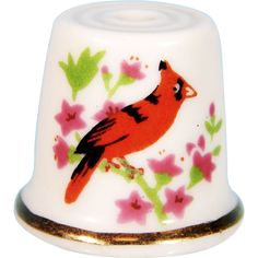 Vintage Collectible Ceramic RED CARDINAL BIRD & FLOWERS Quilting Thimble