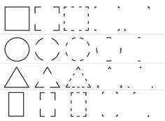 schrijfoefening vormen, teken de vorm, maak de vorm af