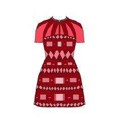 Dress red geometric