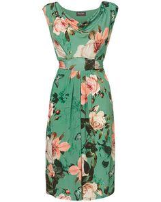 Women's Multi-Coloured green Botanical Print Dress
