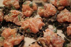 Katia au pays des merveilles: Tartare de saumon sur nori frite