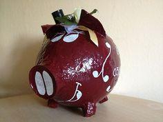 Kartenbox - Briefbox - grosses Sparschwein - Schwein - Hochzeit - Bordeaux - Rot