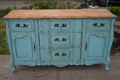 Primitive & Proper: Another French Sideboard gets a Fresh Look; turquoise antiqued and wood top