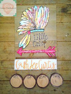 Headress/Arrow Indian inspired Nursery Door Hanger with Wooden Stats. Order your… – Door hanger Hospital Door Hangers, Baby Door Hangers, Wooden Door Hangers, Wooden Doors, Baby Boy Birth Announcement, Indian Doors, Unusual Baby Names, Indian Baby, Girl Nursery