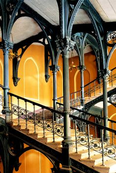 Art nouveau neo-gothic 'stairway to heaven' (Budapest, Hungary) Architecture Art Nouveau, Gothic Architecture, Beautiful Architecture, Beautiful Buildings, Interior Architecture, Budapest Nightlife, Take The Stairs, Stair Steps, Grand Staircase