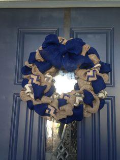 Homemade burlap wreath. Follow Monica's Magnificents on FB.