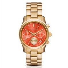 Orange and Gold Michael Kors Accessories - Michael Kors MK6162 Orange Dial Runway Watch NEW