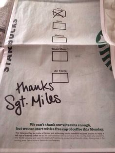 Starbucks free coffee to veterans on November 11, 2013
