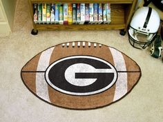 Georgia UGA Bulldogs G Football Shaped Area Rug Welcome/Bath Mat