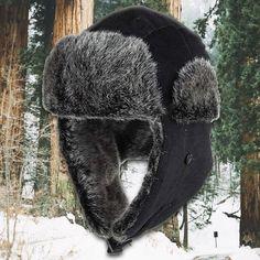 09b2c63845542 Black Corduroy Vegan Fur Ushanka Aviator Eskimo Trapper Hat