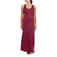 Faded Glory Women's Striped Maxi Tank Dress, Size: XS, Red