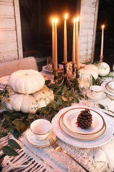 Neutral Thanksgiving Tablescape – get Willow Eucalyptus and Pinecones from www.drieddecor.com