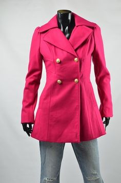 Guess Coat Women&39s Outerwear NWT Wool Toggle Red Winter Dress