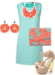 Spring Skin Tone - This outfit would be perfect for those who have a spring skin tone. The blue of the dress and purse will bring out the coral colors of the jewelry. There's no dark or dull colors so this will look great with their skin tone.