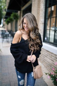 Off-the-Shoulder Sweater with Lace Bralette