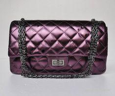 Classic Chanel Flap Bags 45453 Raindrop Leather Purple
