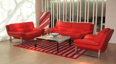 Contemporary Living Room sets can be both functional and decorative. See this page for ideas for your living room. Red Living Room Set, Red Curtains Living Room, Living Room Sofa, Living Room Furniture, Living Rooms, Sofa Set Sale, Leather Sofa Set, Sofa Styling, New Furniture