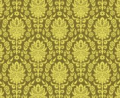 Beetle Damask </br> Butter Yellow on Lime Beetle, Aqua, Magenta, Damask, Lime, Butter, Yellow, Fabric, Prints