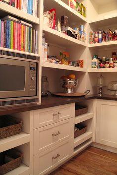Microwave in pantry. Pantry by Squires @ Veranda Interiors Microwave In Pantry, Kitchen Pantry, New Kitchen, Kitchen Decor, Hidden Microwave, Microwave Storage, Pantry Design, Kitchen Design, Cabinet Design
