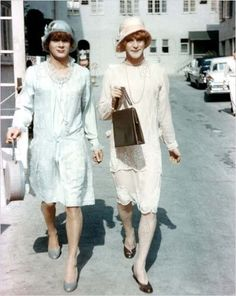 Some Like It Hot, 1959 Costume design: Orry Kelly powder blue drop waist dress with tulle edging and pink double layer dress with scallop hem and floral embroidery worn by Tony Curtis and Jack Lemmon in the roles of Joe and Jerry Jack Lemmon, Golden Age Of Hollywood, Vintage Hollywood, Hollywood Stars, Classic Hollywood, Hollywood Images, Tony Curtis, Films Cinema, Comedy Films