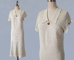 1930s Dress/ 30s Knit Crochet Dress / Cream by GuermantesVintage