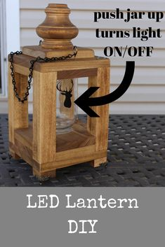 In this tutorial learn how to make a wooden mason jar lantern. Push up on the jar turns the light on or off. It's a fun project. Very low cost and requires few tools. Easily can be built on a free Saturday. In this tutorial le Learn Woodworking, Woodworking Skills, Easy Woodworking Projects, Popular Woodworking, Woodworking Plans, Sketchup Woodworking, Woodworking Workshop, Wood Projects For Beginners, Diy Wood Projects
