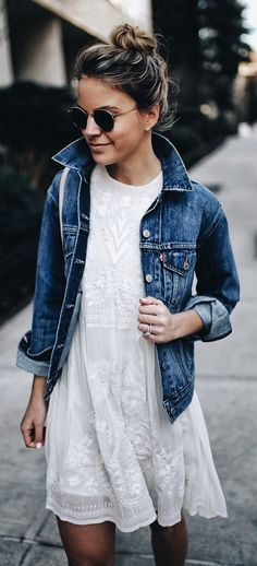 Denim Jacket, Spring Dress, Spring, Summer Dress, Women's Fashion, Spring Outfits, Spring Outfit Ideas, #springfashion